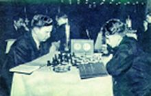 Playing B.Spassky at international tournament, Bucharest 1953.